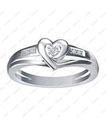 Diamond 14k White Gold Plated 925 Sterling Silver Lovely Heart Engagemen... - $62.99