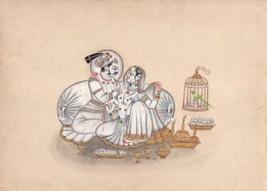 Rajasthani Painting Rare Handmade Rajput Maharaja Maharani Indian Miniat... - $199.99