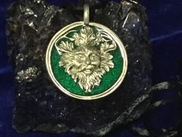 Talisman of Renewal Rebirth  Fertility The Green Man Pendant - $28.71
