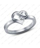 Women's 925 Silver Lab Created White Diamond Heart Shape Engagement Band... - $54.99