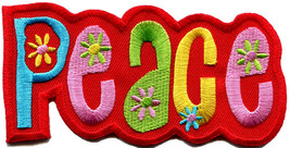 Peace sign hippie retro love weed embroidered applique iron-on patch S-31 - $2.95