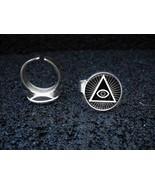 Silver Plated Adjustable Ring Illuminati All Seeing Eye Pyramid - $11.39