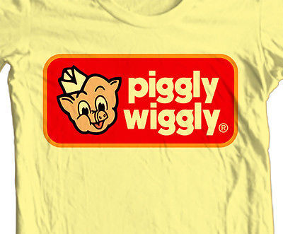 Piggly Wiggly T shirt retro 70s 80s vintage brands 100% cotton printed tee