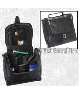Hanging Black Lambskin Leather Toiletry Travel Organizer Bag Makeup Shaving - $19.99