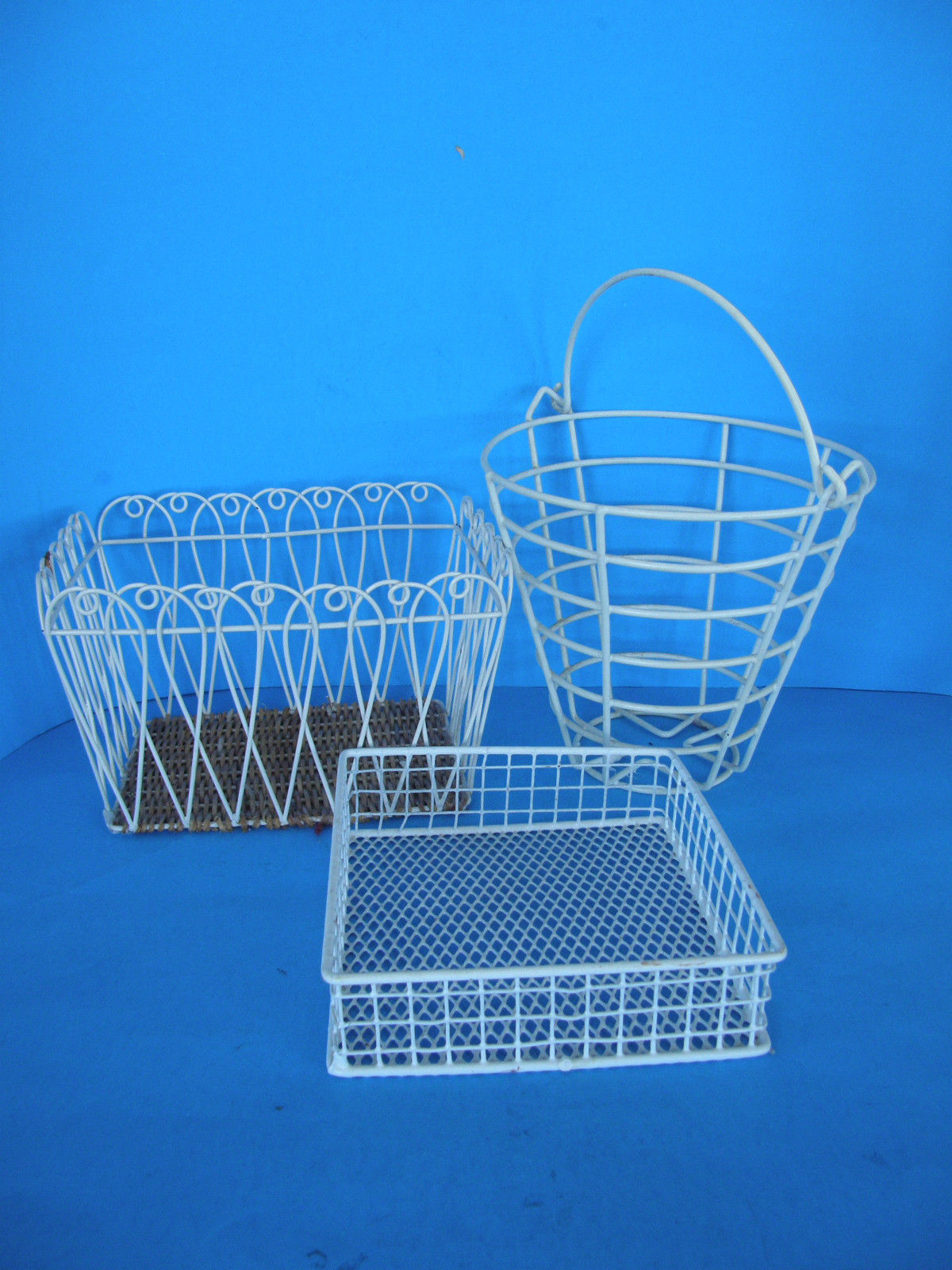 Set Of 3 Welded Metal Wire Baskets Rustic and 50 similar items