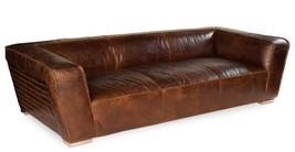 "102"" L Leather Sofa Vintage Cigar Brown Steel Legs Cool Back Brick Stitc... - $5,534.10"