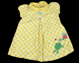 Child of Mine Carter's Bee Nice Newborn Girl Dress 24M Frog Flowers Yellow - $12.38