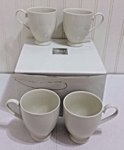 New MIKASA Avalon Ivory Footed Mug 4 Pc Set Coffee Tea Pedestal Cup Rare... - $43.05