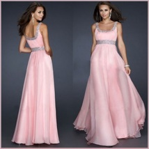 DiVA Pink Sequined Empire Waist Scoop Neck Chiffon Layered Evening Prom Gown  image 1