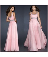 DiVA Pink Sequined Empire Waist Scoop Neck Chiffon Layered Evening Prom... - $108.95
