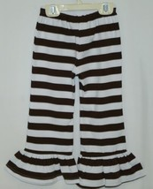 Blanks Boutique Brown White Ruffled Pants Cotton Spandex Size 3T image 2
