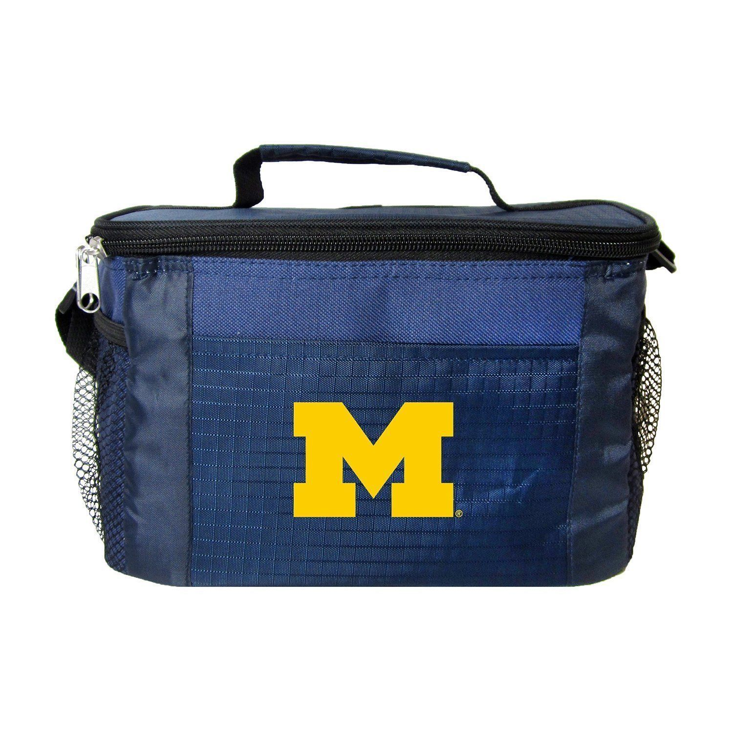 MICHIGAN WOLVERINES LUNCH TOTE 6 PK BEER SODA TEAM LOGO KOOLER BAG NCAA