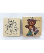 Rubber stampede rubber stamp bear on skates couple lot of 2 - $18.80