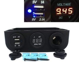 12V Car-Boat-RV-ATV  Power Socket + Voltmeter + Dual USB Charger - $23.00