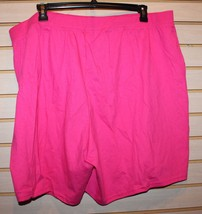 NEW WOMENS PLUS SIZE 4X 26W 28W BRIGHT PINK ESSENTIAL SUMMER JERSEY SHORTS - $13.54