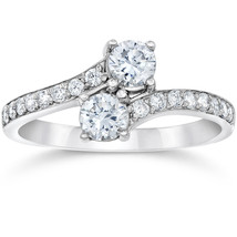 1 Carat Forever Us Round Natural Diamond Two Stone Ring 14K White Gold - £439.86 GBP