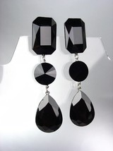 GLITZY SHIMMER Black Czech Crystals LONG Bridal Queen Pageant Prom Earrings - $29.99