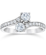 1.50Ct Forever Us 2 Stone Two Diamond Ring 14K White Gold - £773.66 GBP