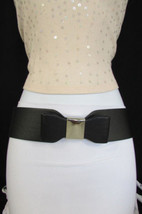 New Women Belt Fashion Hip Waist Elastic Black Wide Big Bow Silver Buckl... - $14.69