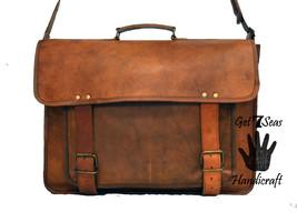 """16"""" leather messenger brown real laptop satchel vintage bag crossbody briefcase - $67.33"""