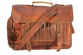 """16"""" leather messenger brown real laptop satchel vintage bag crossbody briefcase - $64.34"""