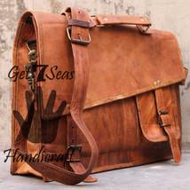 """16"""" leather messenger brown real laptop satchel vintage bag crossbody shoulder - $66.76"""