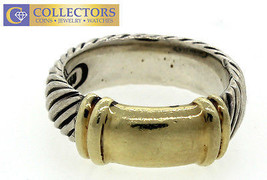 Genuine Unisex David Yurman 925 Sterling Silver 14k Yellow Gold Ring 6.75 - $494.95