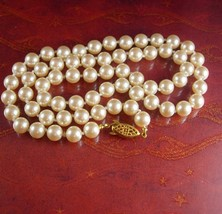 """Bridal Pearl Necklace 24""""  9mm Vintage Single Strand Graduated Pearls Ch... - $85.00"""