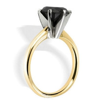 0.50 Carat Real Black Diamond AA Quality 14K Yellow Gold 6 Prong Solitaire Ring - £182.33 GBP