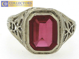 Ladies Retro 14k White Gold Glass Red Stone Synthetic Ruby Ring 5.25 - $478.95