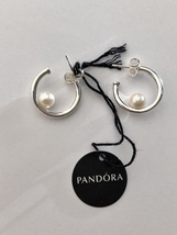 Genuine Pandora Sterling Silver Offset Freshwater Cultured Pearl Hoop Earrings - $74.95