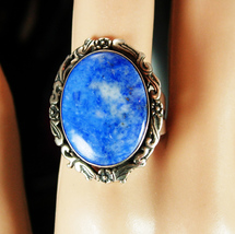 Vintage Sterling Lapis Signed Ring Heavy modernist design Size 9 1/2 4th 5th 9th - $125.00