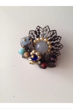 1940's vintage jewelry blue flowered brooch pin - $69.99