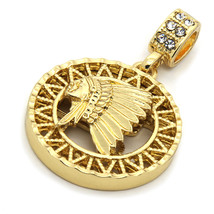 "Mens 14K Gold Plated Round American Pendant Hip-Hop 3mm/30"" Cuban Chain - $13.85"