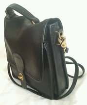 Rare Coach Vintage Black Leather Messenger Cross Body Bag Made NY USA 1970s - $160.88
