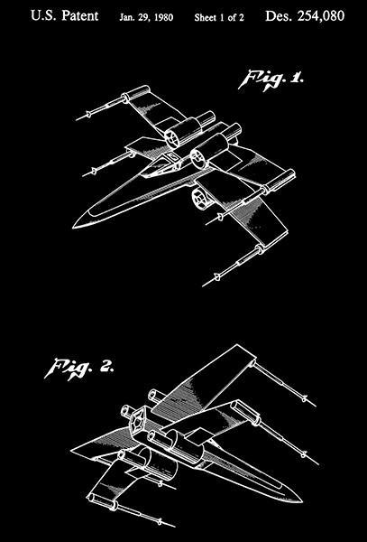 Primary image for 1980 - Star Wars Spacecraft Wing Fighter - Patent Art Poster