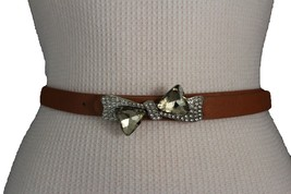 Women Brown Fashion Narrow Belt Hip High Waist Silver Bow Tie Beads Buck... - $13.71