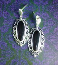 Victorian Style Earrings Sterling Silver Dangle Drops Onyx  Pierced Vintage  Wom - $80.00