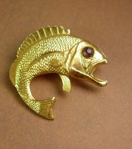Vintage Large Fish Brooch Rhinestone Eye Big Mouth Bass Trout Women's Me... - $25.00