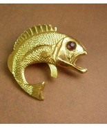 Vintage Large Fish Brooch Rhinestone Eye Big Mouth Bass Trout Women's Me... - £18.35 GBP