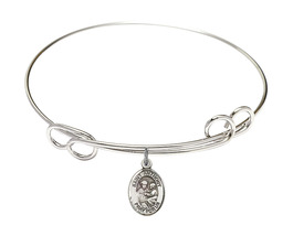 Saint Anthony of Padua 7 1/2 Round Loop Sterling Silver Bangle Bracelet - $64.99