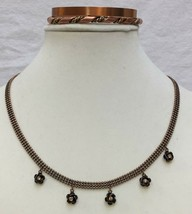 Copper Necklace Choker Rose Pendants Amber Rhinestones 2 Cuff Bracelets Lot of 3 - $18.80