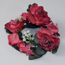 12 Red Latex Flower Candle Ring Floral Design Arrangement Wreath Wedding... - $19.62