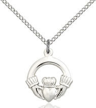 Small Sterling Silver Claddagh Medal Necklace F... - $42.50