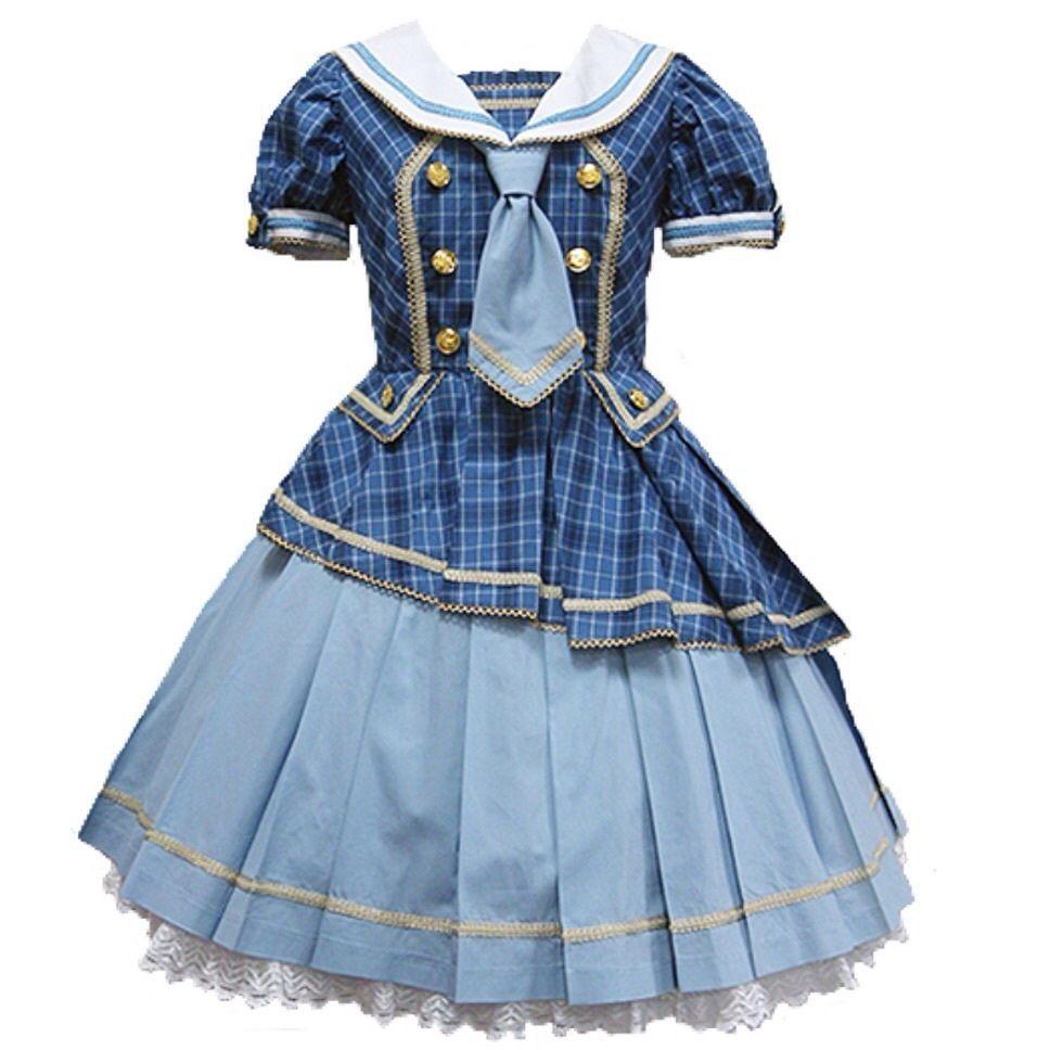 Angelic Pretty Tartan Holic OP Sax Sailor Onepiece Dress Lolita Japanese Fashion