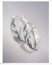 CLASSIC Brighton Bay Silver Cable Filigree Oval Hoop Earrings - $323,24 MXN