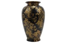 Beautiful Black and Gold Gild Hand Painted Chinese Porcelain Vase Crane ... - $148.49