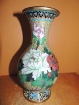 "Vintage Cloisonne 8"" Vase Enamel Stone Yellow Green Blue Red Bird of Par... - $39.99"