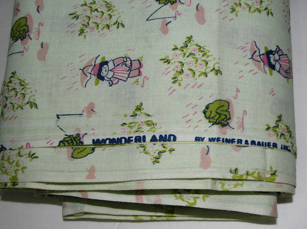 """SOLD - Novelty Little Girl & Frogs Cotton Craft Quilt Fabric 44"""" x 6 yards"""