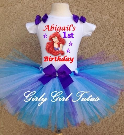 90c1dbb74d92 Princess Ariel Little Mermaid Baby Girl 1st Birthday Tutu Outfit Party Dress  Set
